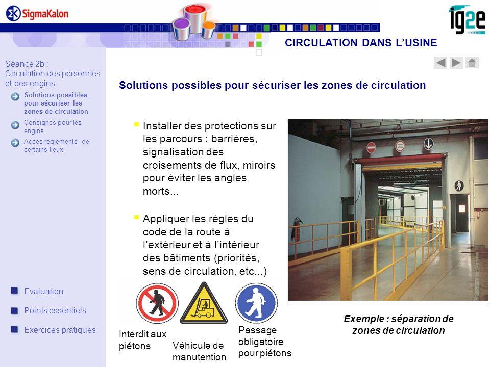 CIRCULATION DANS L'USINE Exemple : séparation de zones de circulation
