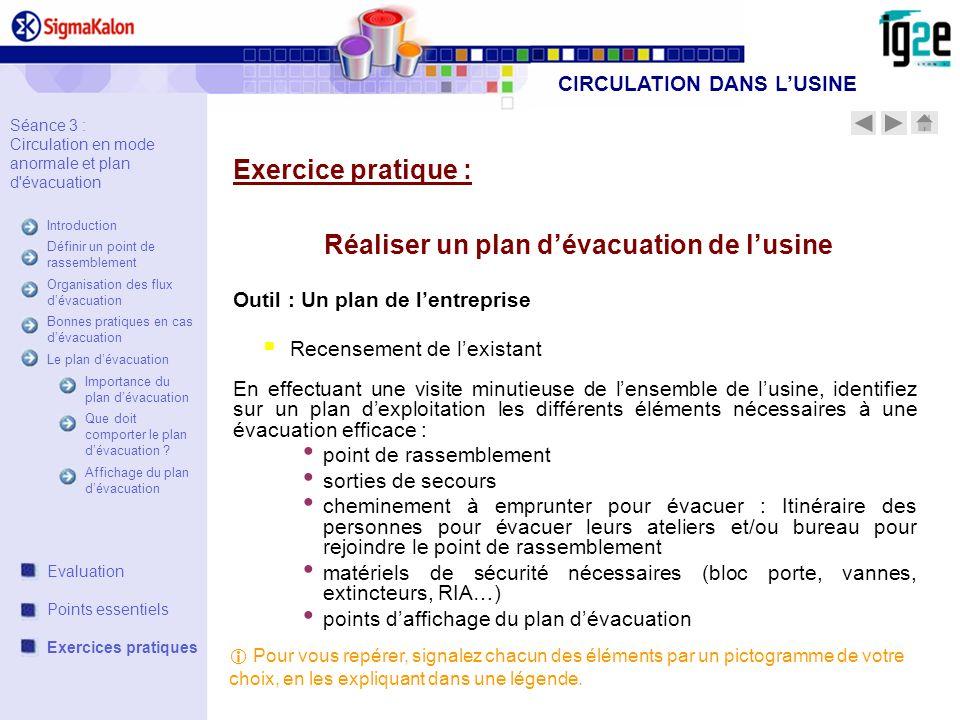 CIRCULATION DANS L'USINE Réaliser un plan d'évacuation de l'usine