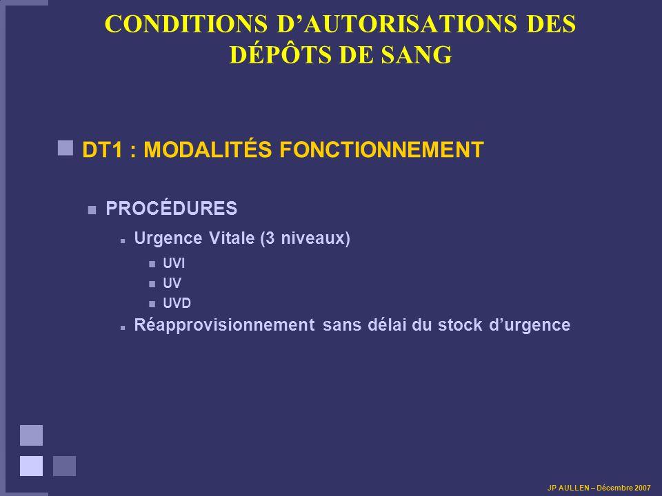 CONDITIONS D'AUTORISATIONS DES DÉPÔTS DE SANG