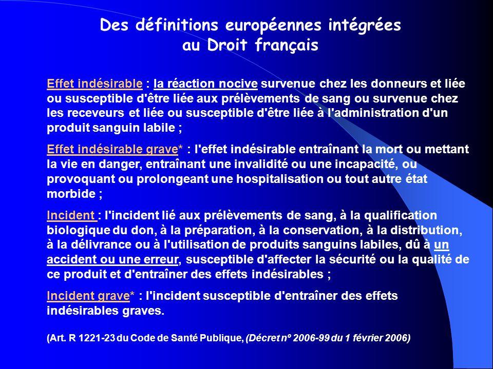 Des définitions européennes intégrées