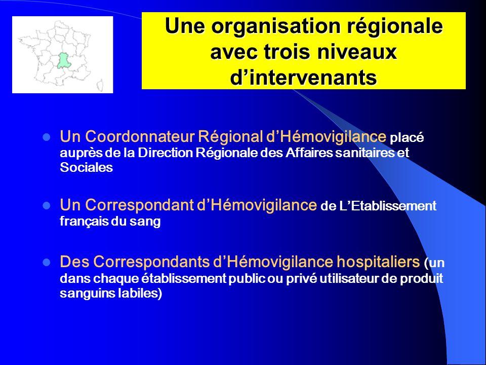 Une organisation régionale avec trois niveaux d'intervenants