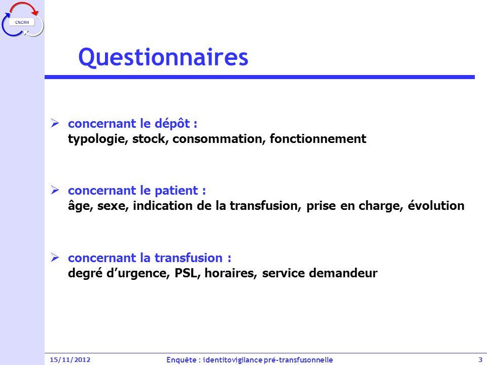 Enquête : identitovigilance pré-transfusonnelle
