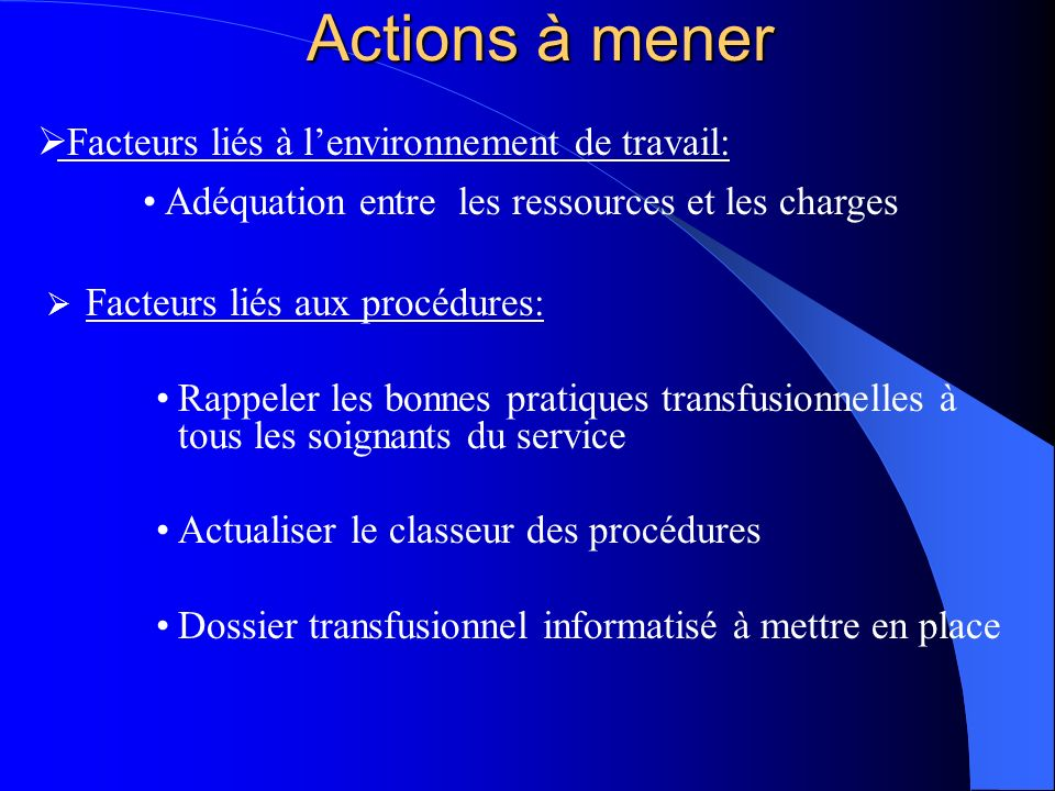 Actions à mener Facteurs liés à l'environnement de travail: