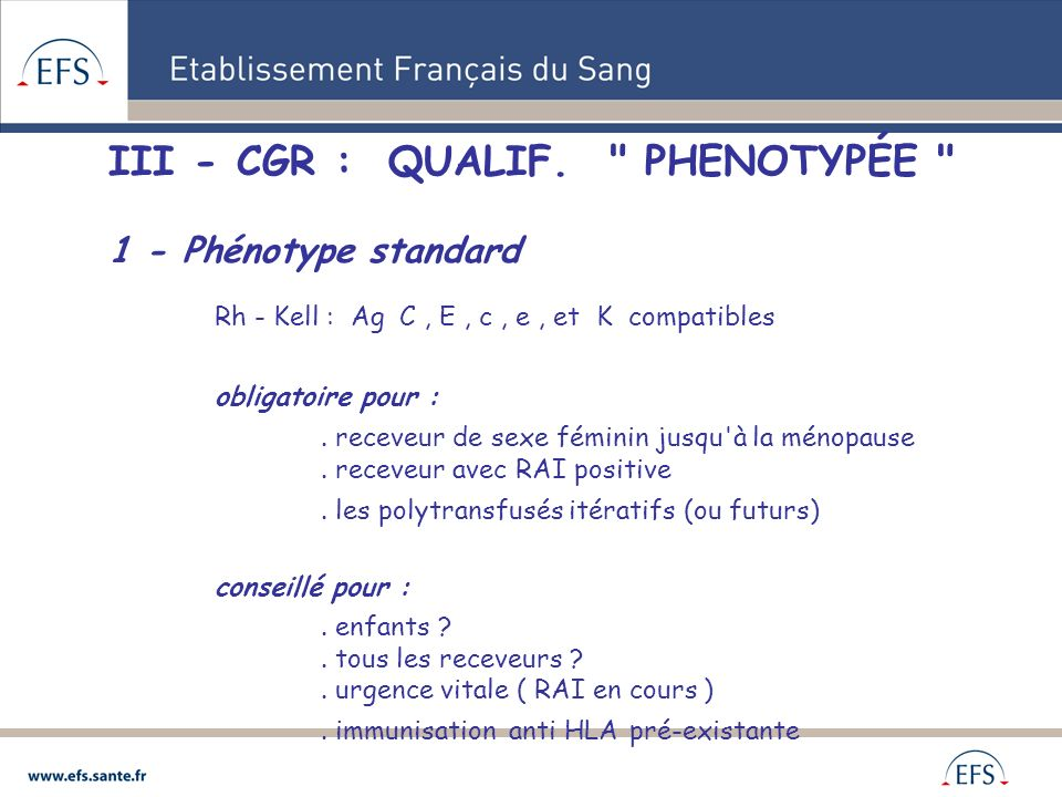 III - CGR : QUALIF. PHENOTYPÉE