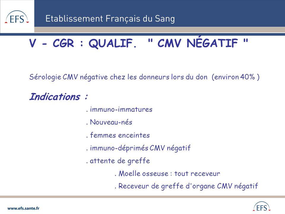 V - CGR : QUALIF. CMV NÉGATIF