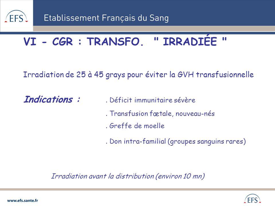 VI - CGR : TRANSFO. IRRADIÉE