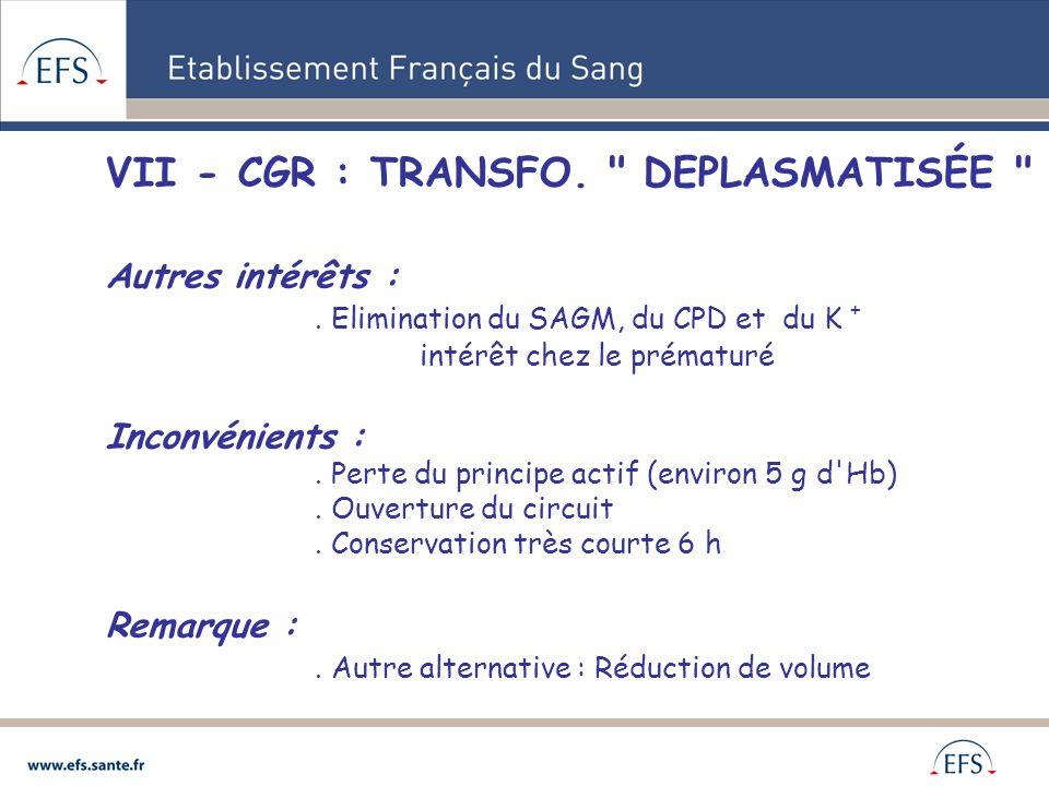 VII - CGR : TRANSFO. DEPLASMATISÉE Autres intérêts :