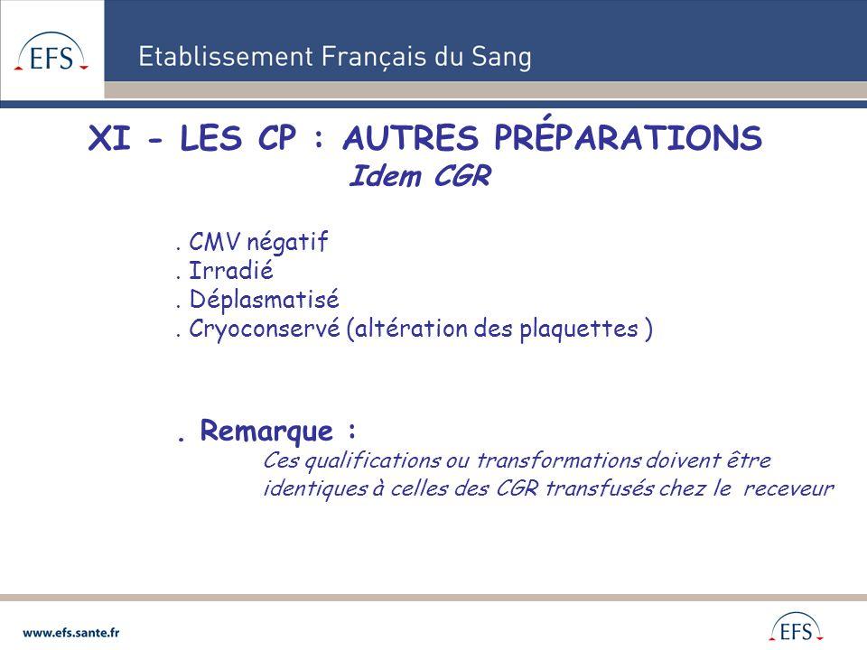 XI - LES CP : AUTRES PRÉPARATIONS