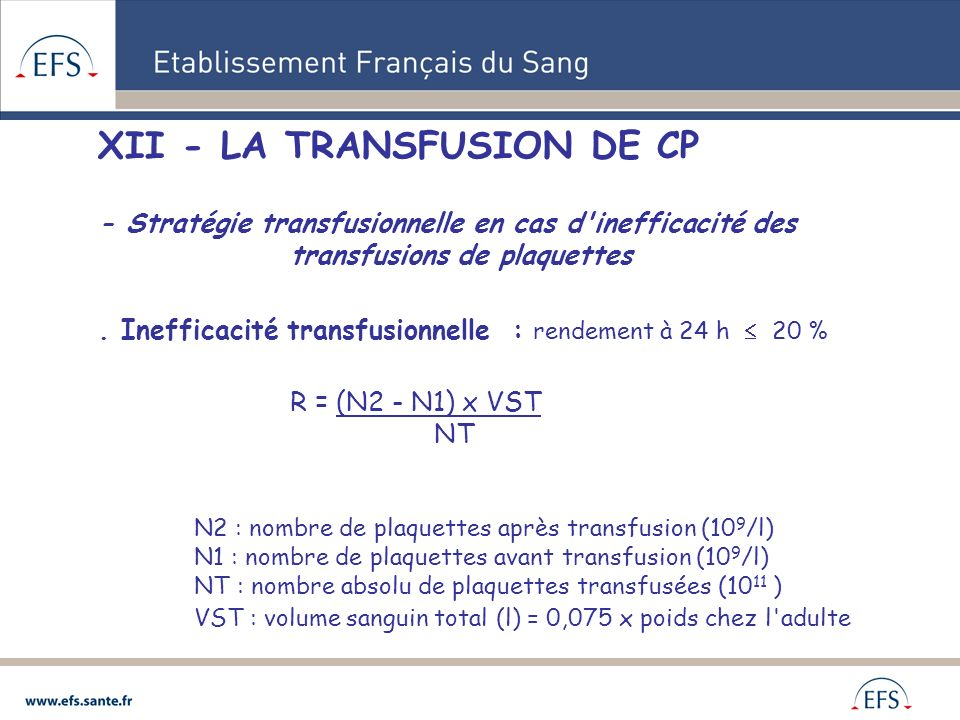 XII - LA TRANSFUSION DE CP