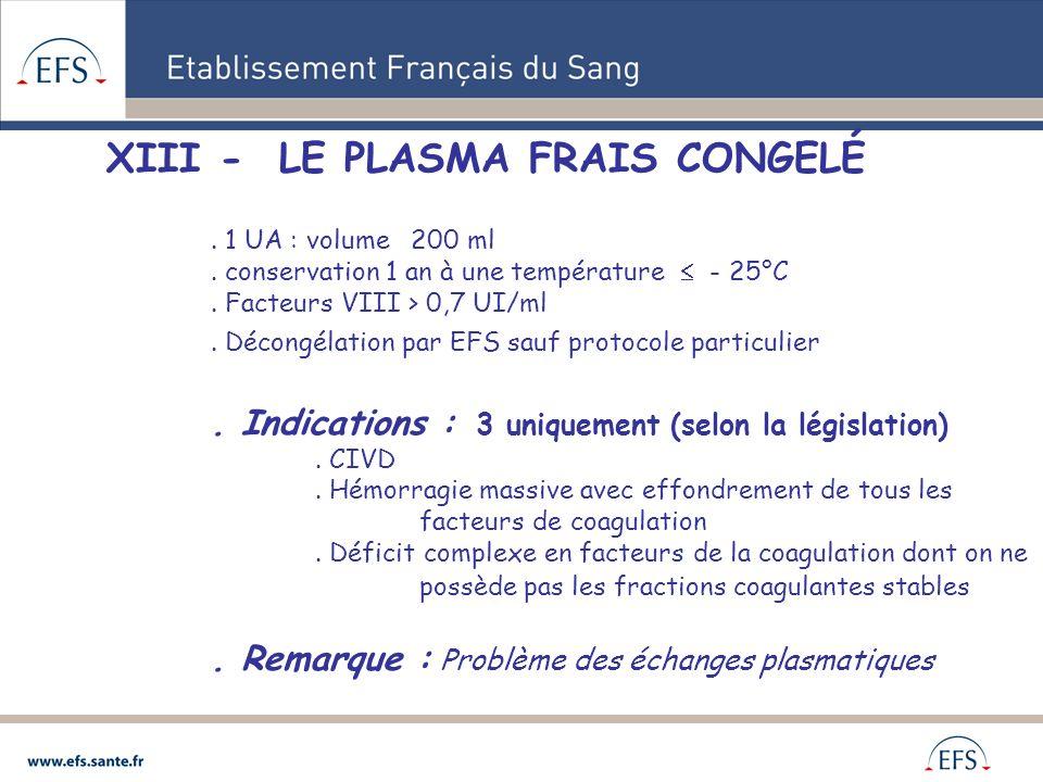 XIII - LE PLASMA FRAIS CONGELÉ
