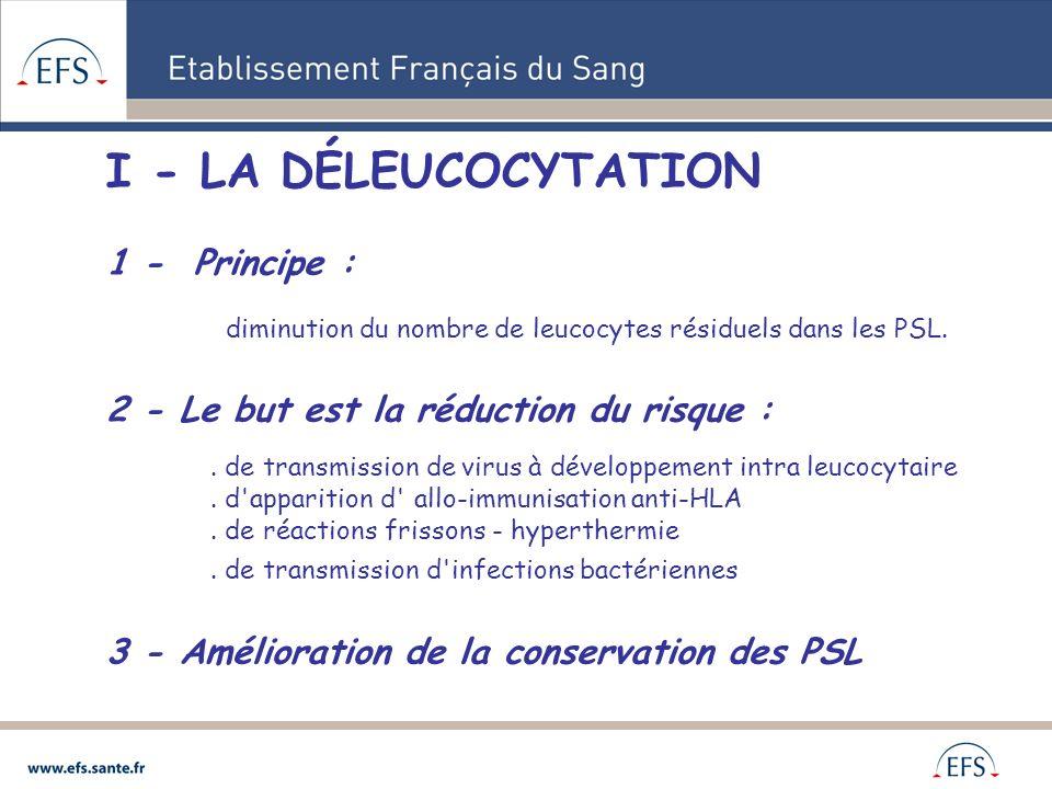 I - LA DÉLEUCOCYTATION 1 - Principe :