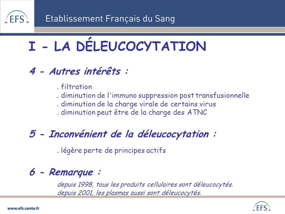 I - LA DÉLEUCOCYTATION 4 - Autres intérêts :