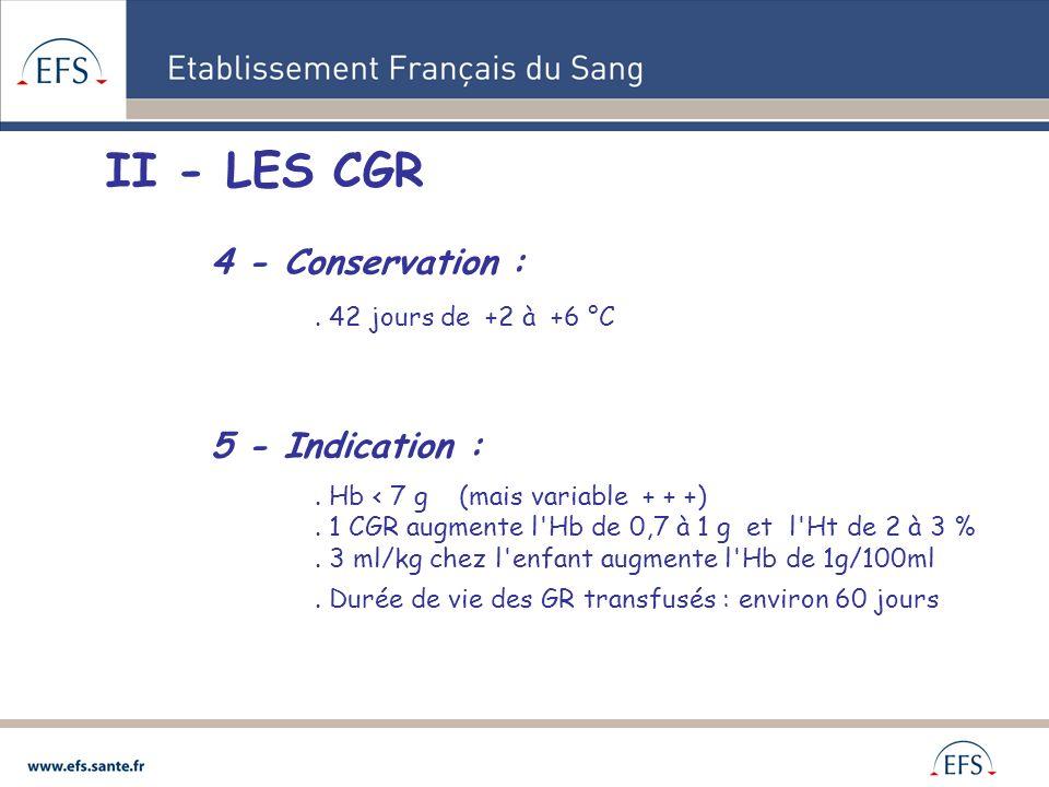 II - LES CGR 4 - Conservation : . 42 jours de +2 à +6 °C