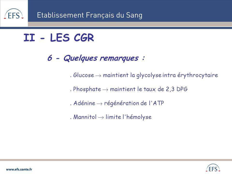 II - LES CGR 6 - Quelques remarques :
