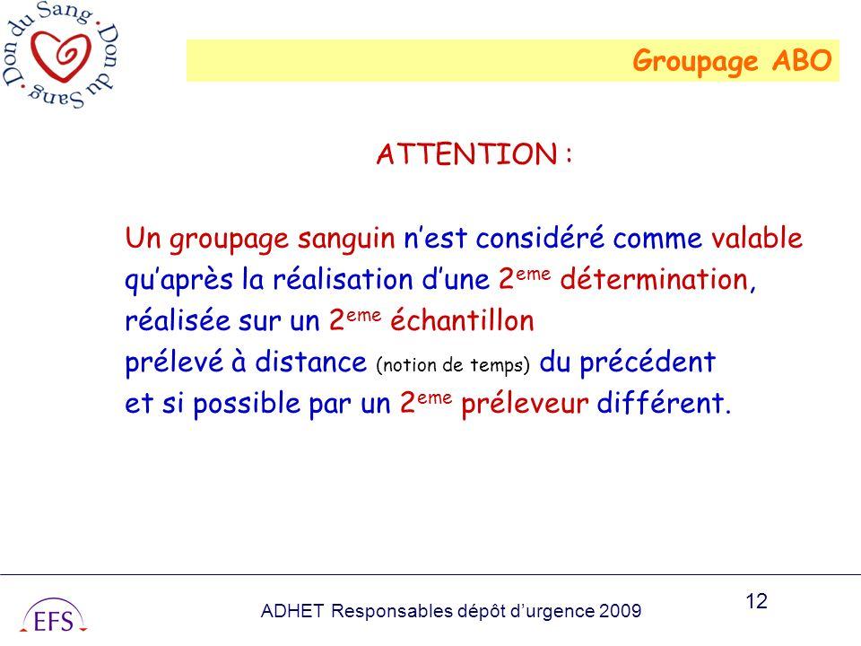 Groupage ABO ATTENTION : Un groupage sanguin n'est considéré comme valable. qu'après la réalisation d'une 2eme détermination,