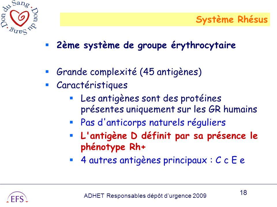 Système Rhésus 2ème système de groupe érythrocytaire. Grande complexité (45 antigènes) Caractéristiques.
