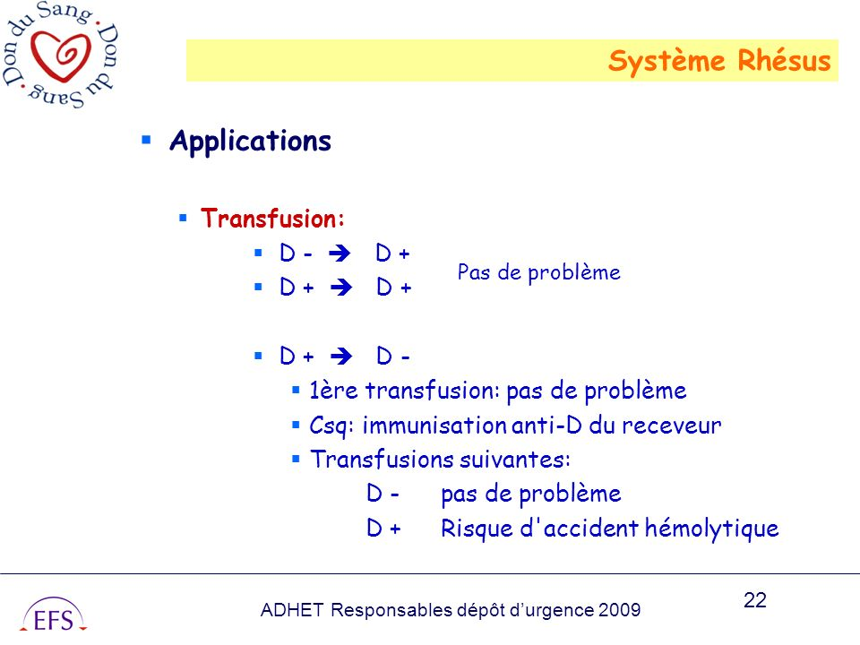 Système Rhésus Applications Transfusion: D -  D + D +  D + D +  D -