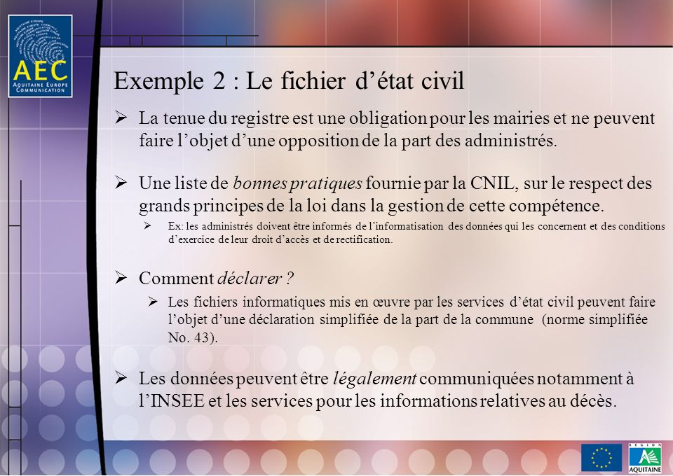 Exemple 2 : Le fichier d'état civil