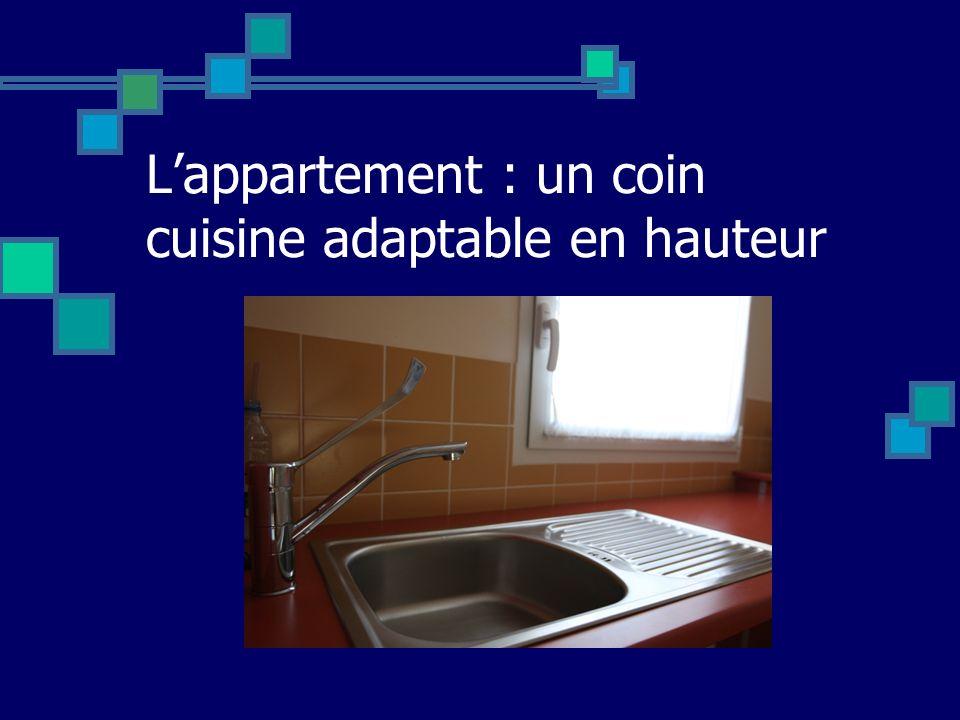 L'appartement : un coin cuisine adaptable en hauteur