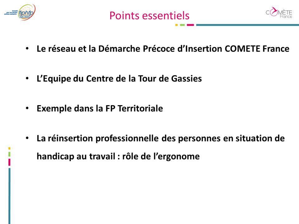 Points essentiels Le réseau et la Démarche Précoce d'Insertion COMETE France. L'Equipe du Centre de la Tour de Gassies.