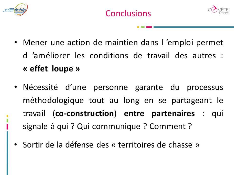 Conclusions Mener une action de maintien dans l 'emploi permet d 'améliorer les conditions de travail des autres : « effet loupe »
