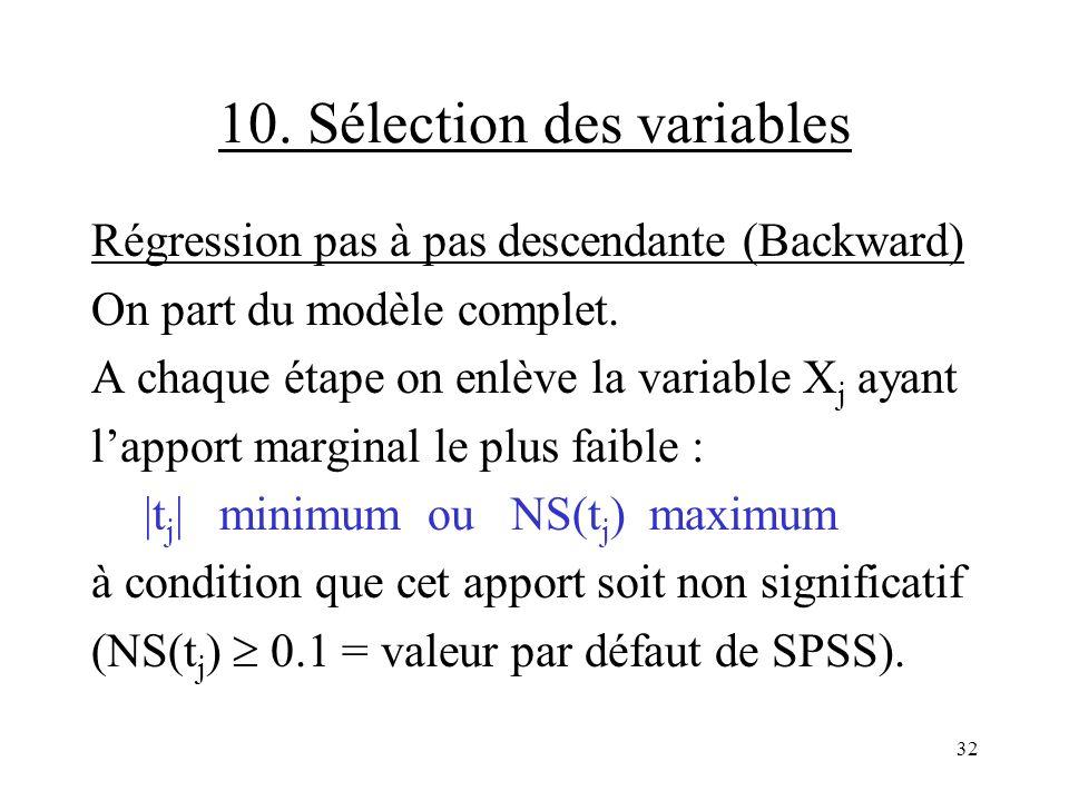10. Sélection des variables