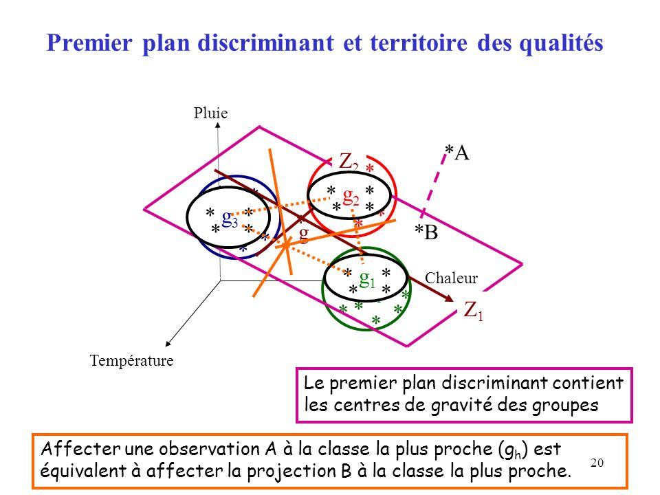 Premier plan discriminant et territoire des qualités