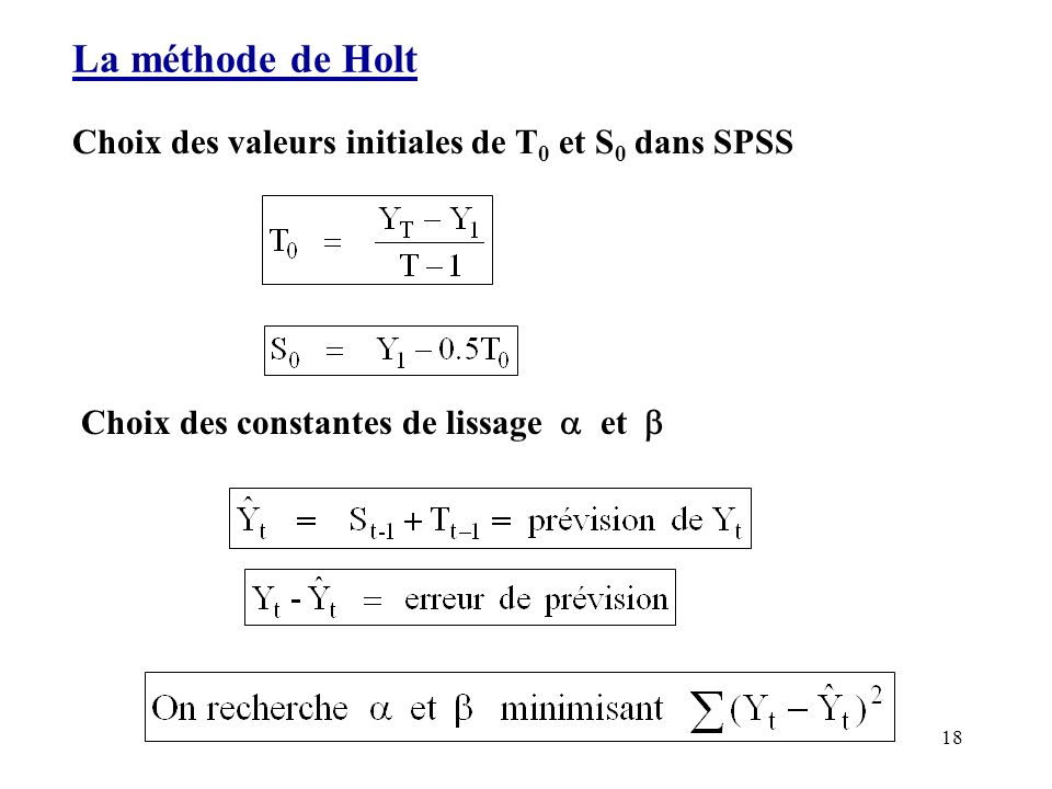 La méthode de Holt Choix des valeurs initiales de T0 et S0 dans SPSS
