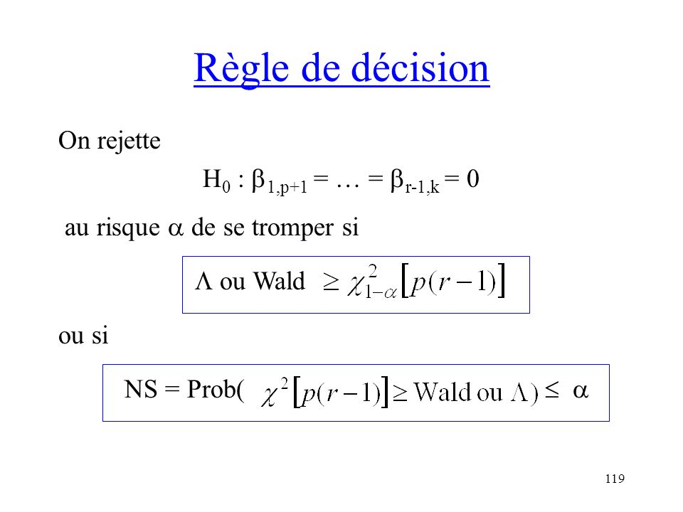 Règle de décision On rejette H0 : 1,p+1 = … = r-1,k = 0