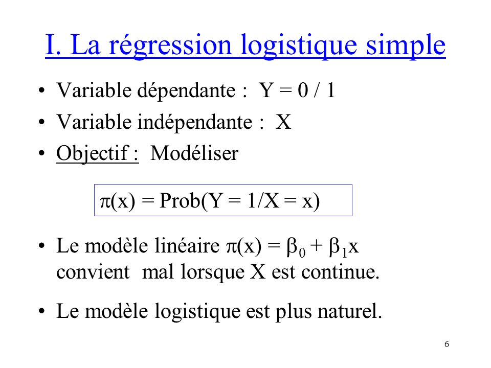 I. La régression logistique simple