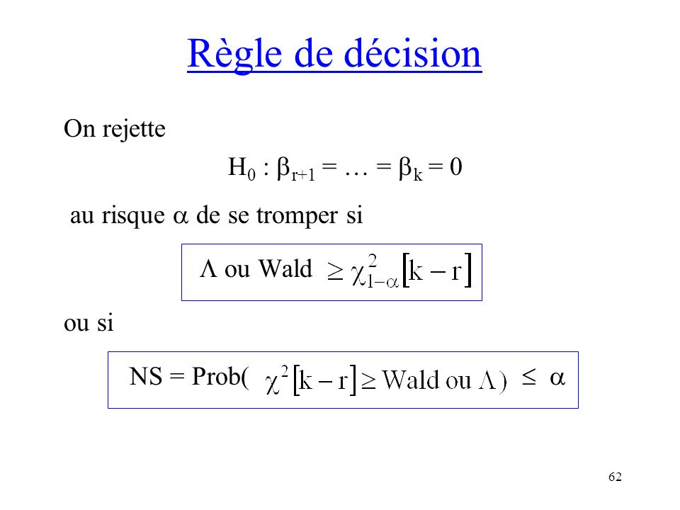 Règle de décision On rejette H0 : r+1 = … = k = 0