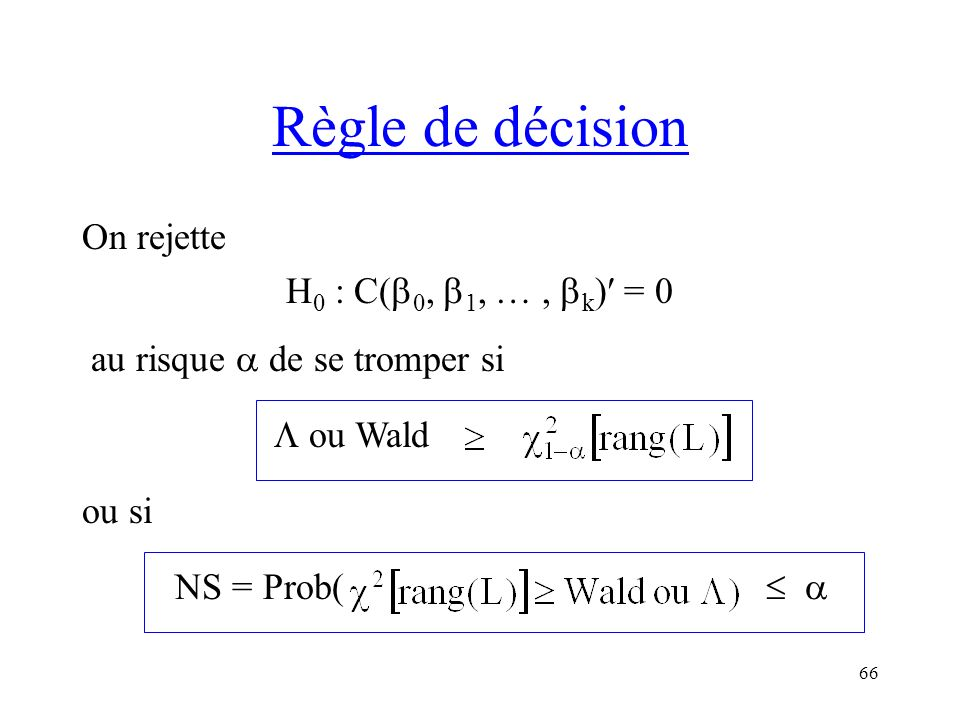 Règle de décision On rejette H0 : C(0, 1, … , k) = 0