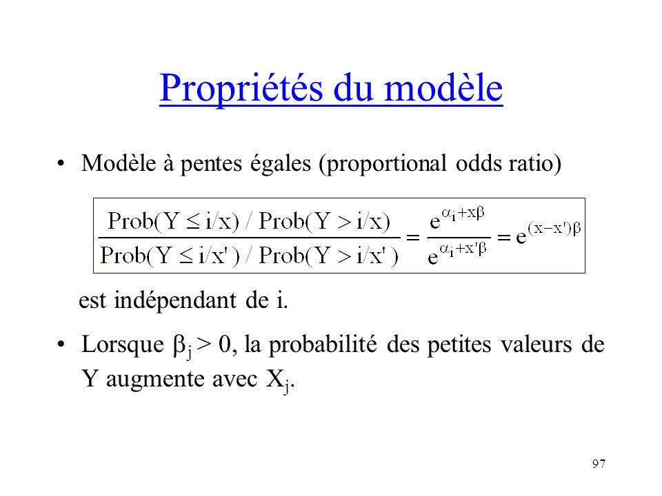 Propriétés du modèle est indépendant de i.