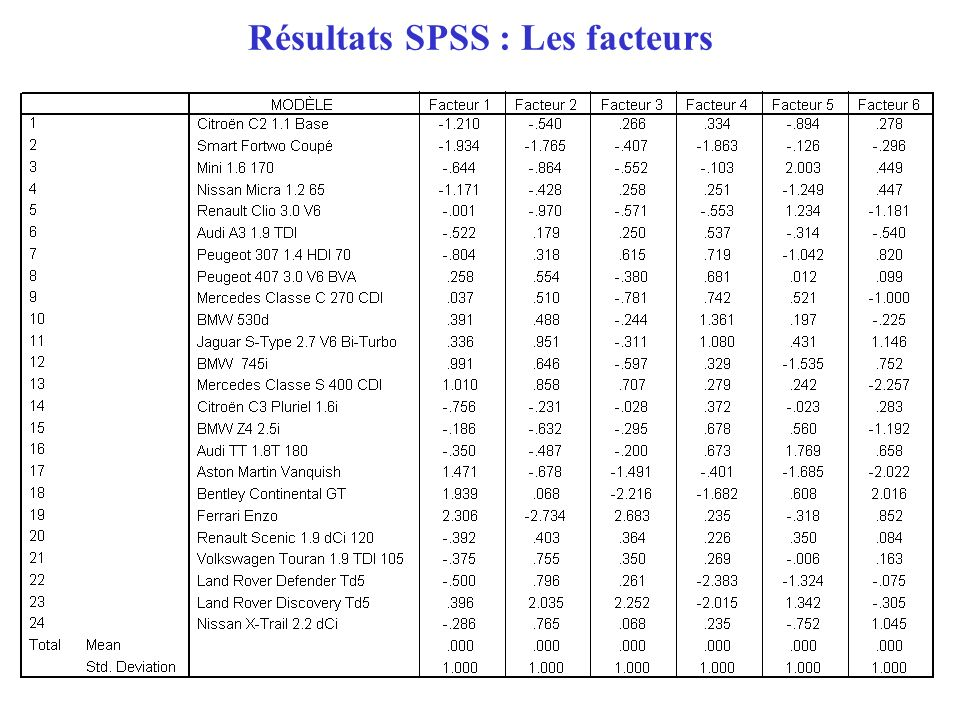 Résultats SPSS : Les facteurs