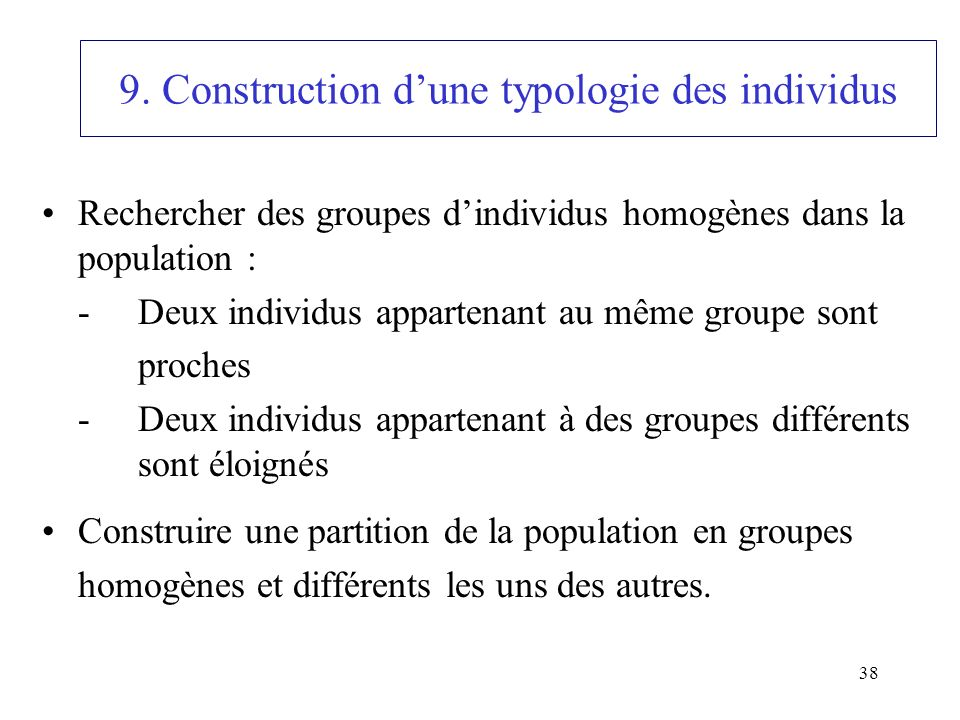 9. Construction d'une typologie des individus