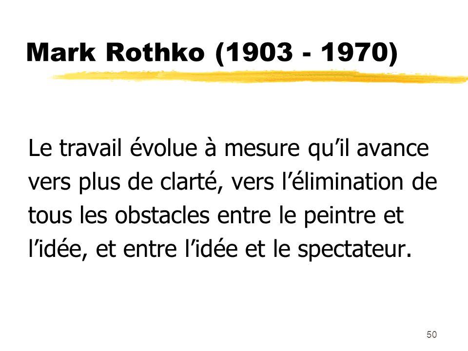 Mark Rothko (1903 - 1970) Le travail évolue à mesure qu'il avance