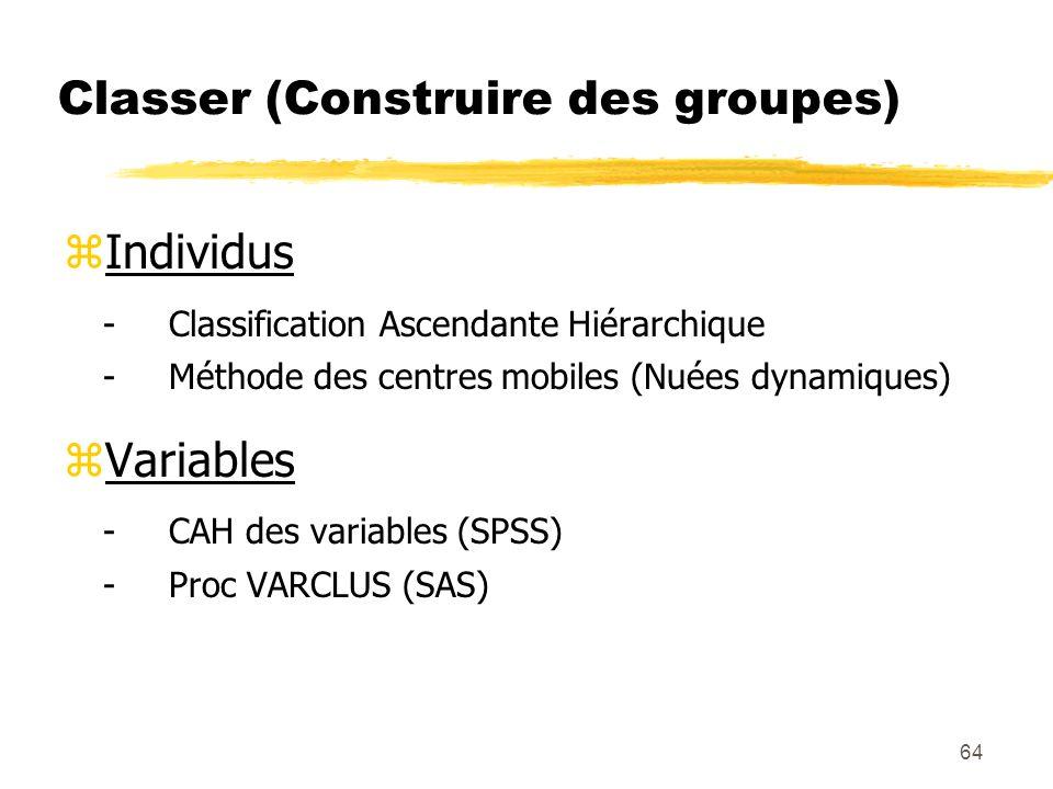 Classer (Construire des groupes)