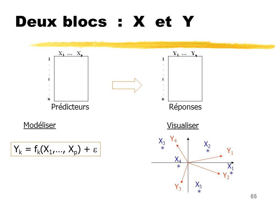 Deux blocs : X et Y Yk = fk(X1,…, Xp) +  Prédicteurs Réponses