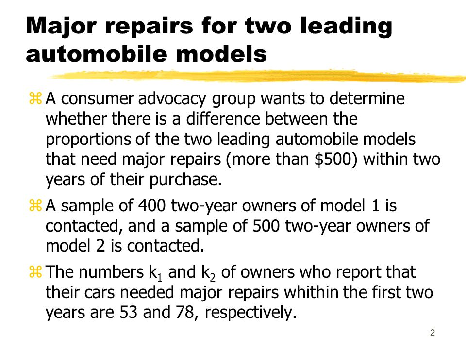 Major repairs for two leading automobile models