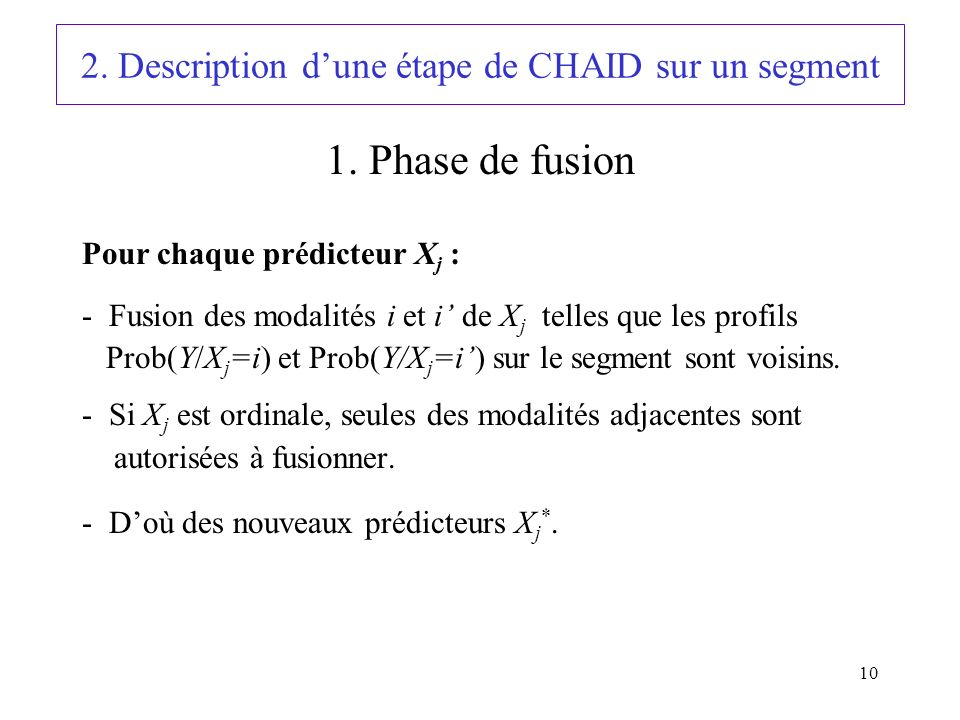2. Description d'une étape de CHAID sur un segment