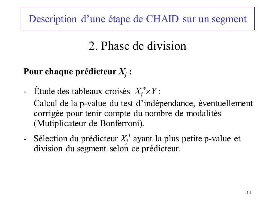 Description d'une étape de CHAID sur un segment
