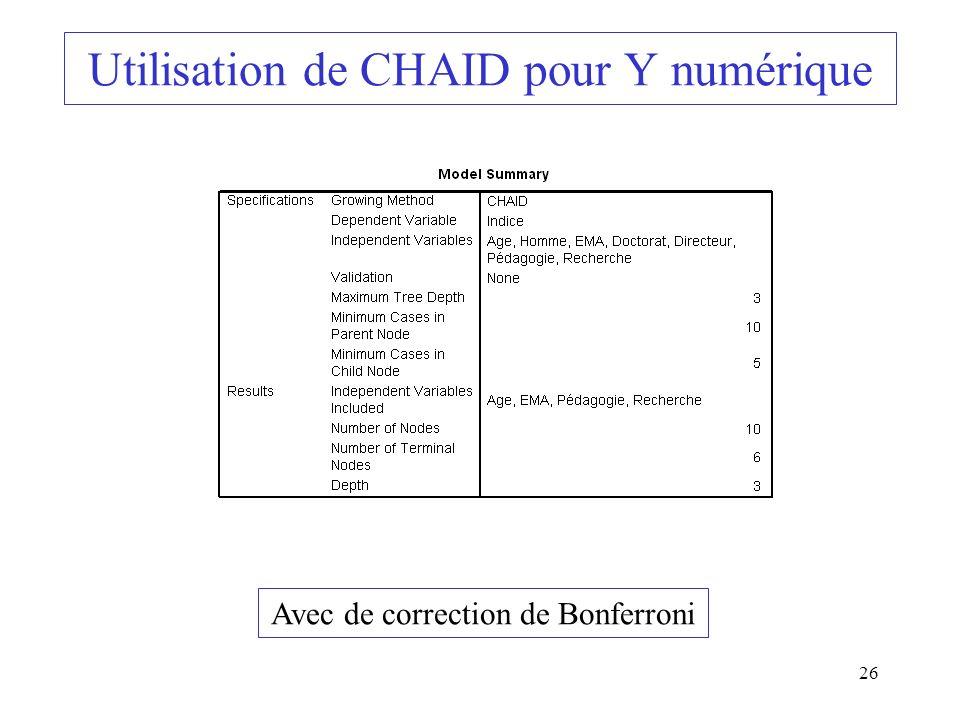 Utilisation de CHAID pour Y numérique