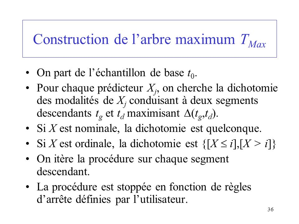 Construction de l'arbre maximum TMax