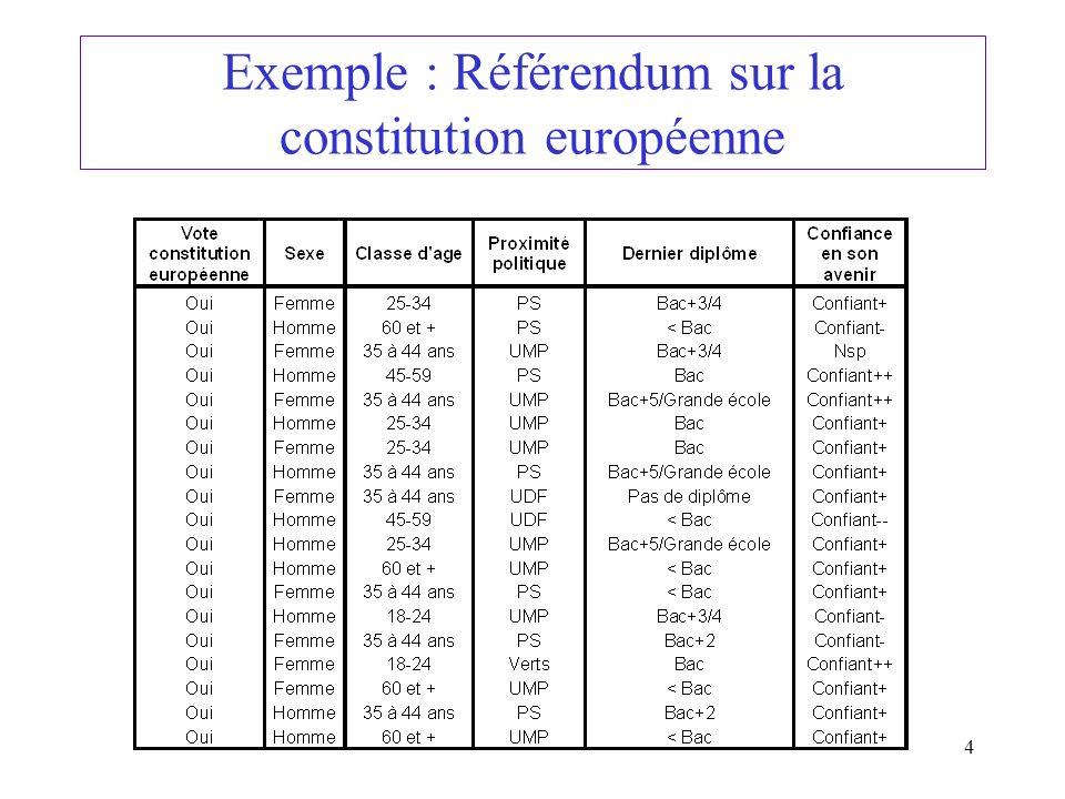 Exemple : Référendum sur la constitution européenne
