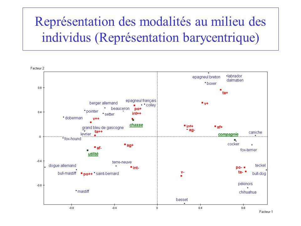 Représentation des modalités au milieu des individus (Représentation barycentrique)
