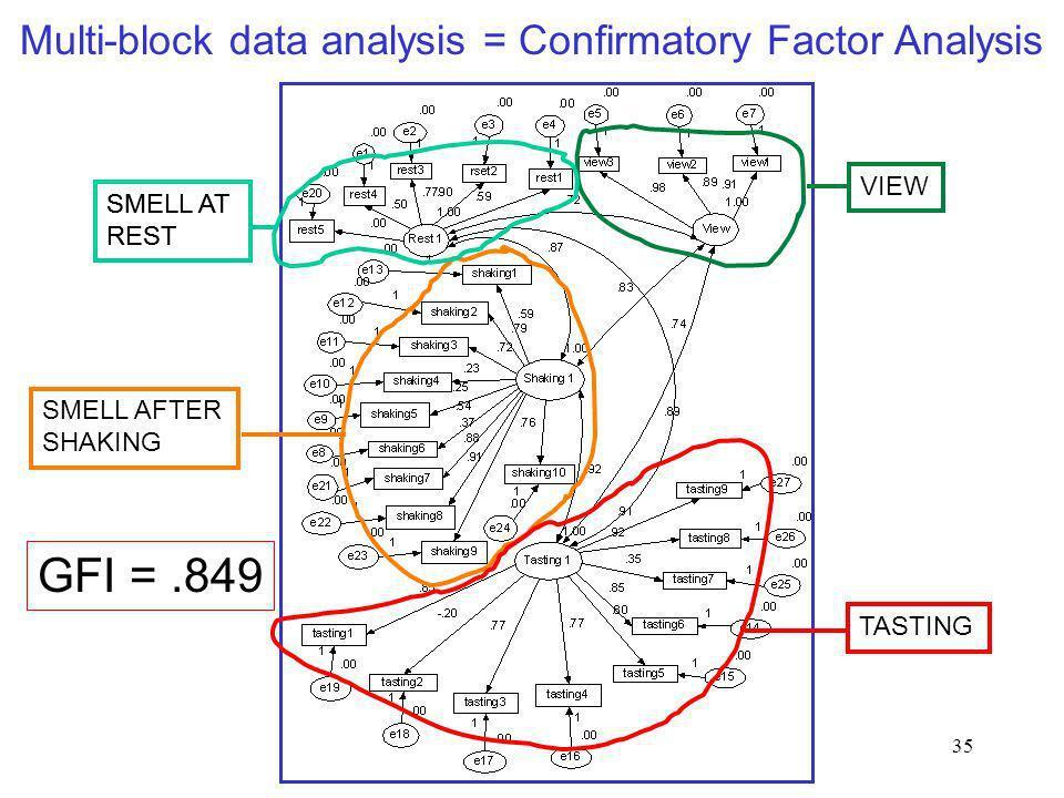 GFI = .849 Multi-block data analysis = Confirmatory Factor Analysis