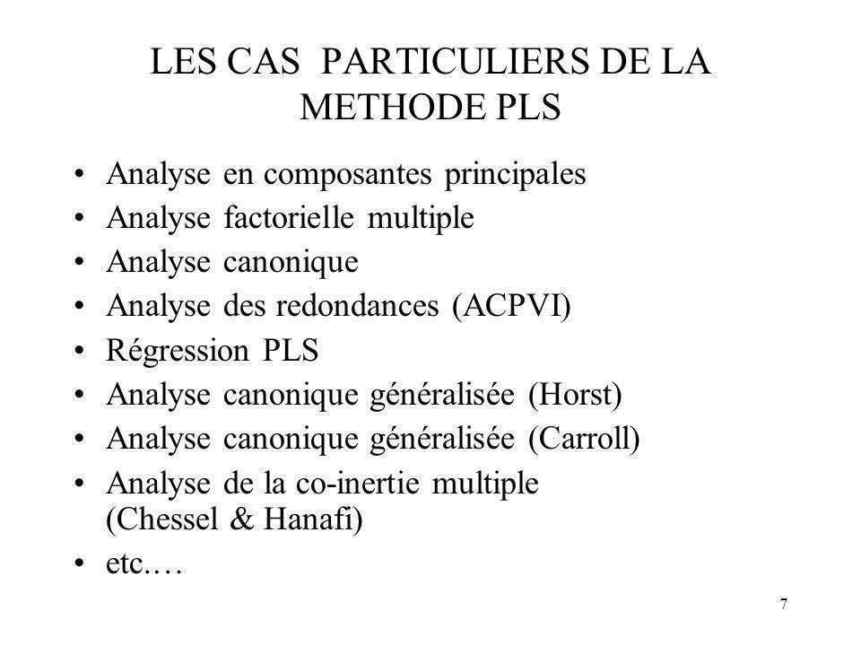 LES CAS PARTICULIERS DE LA METHODE PLS