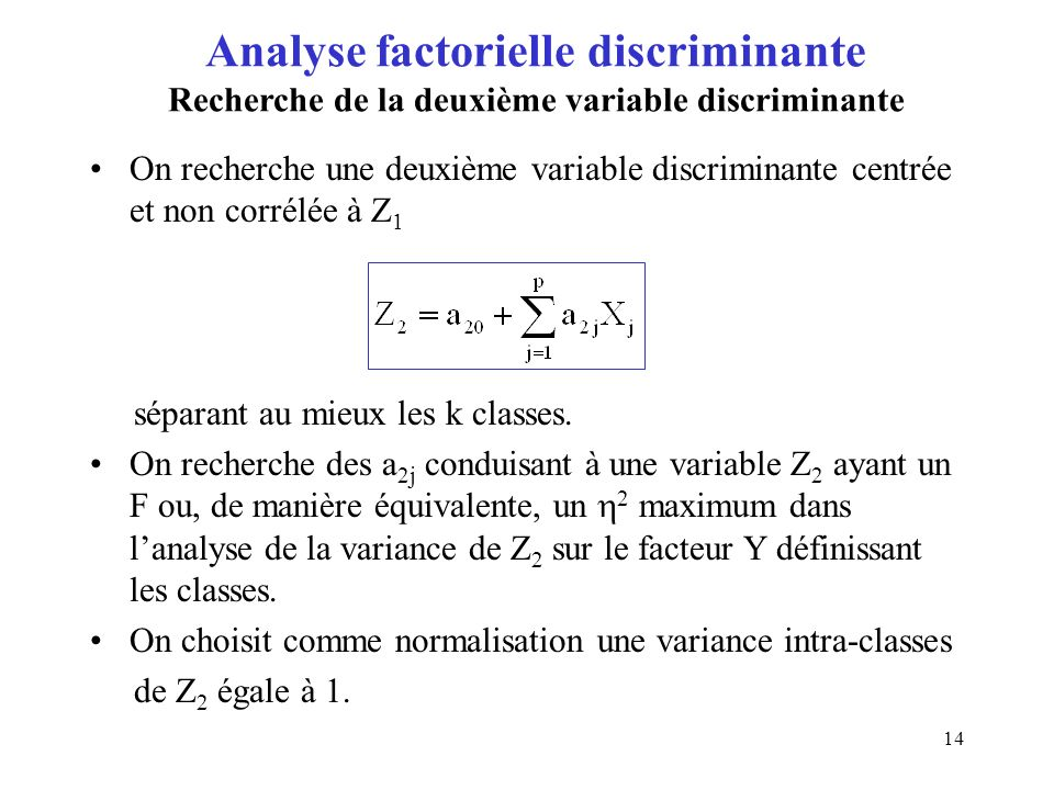 Analyse factorielle discriminante Recherche de la deuxième variable discriminante