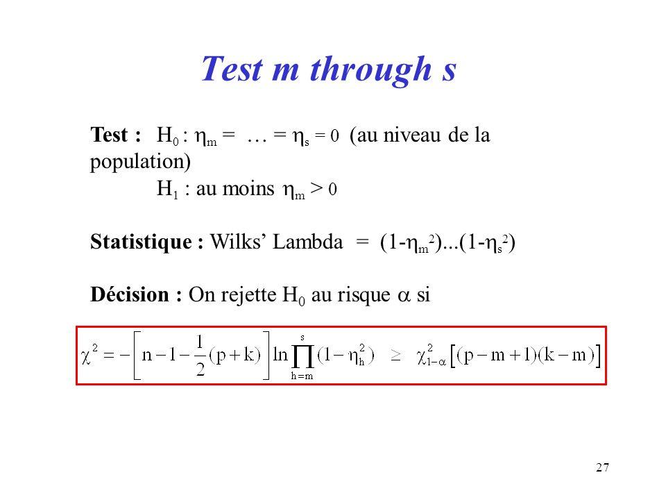 Test m through sTest : H0 : m = … = s = 0 (au niveau de la population) H1 : au moins m > 0. Statistique : Wilks' Lambda = (1-m2)...(1-s2)