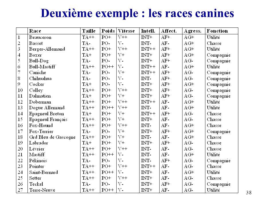 Deuxième exemple : les races canines